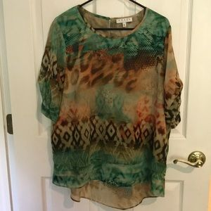 Sheer Short Sleeve Top by Chaus Pretty Colors